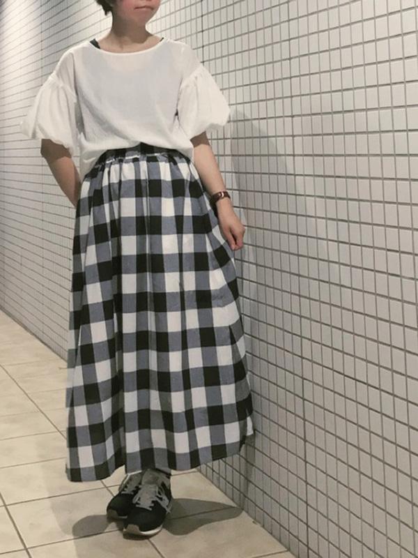 半袖のバルーン袖コーデ